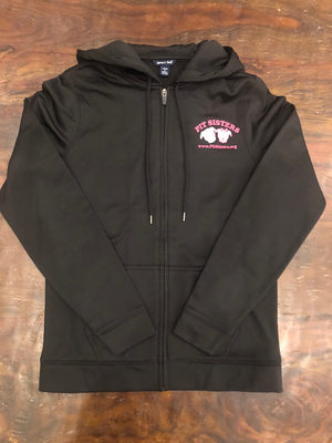 Black hooded, zip front jacket with Pit Sisters logo - Large