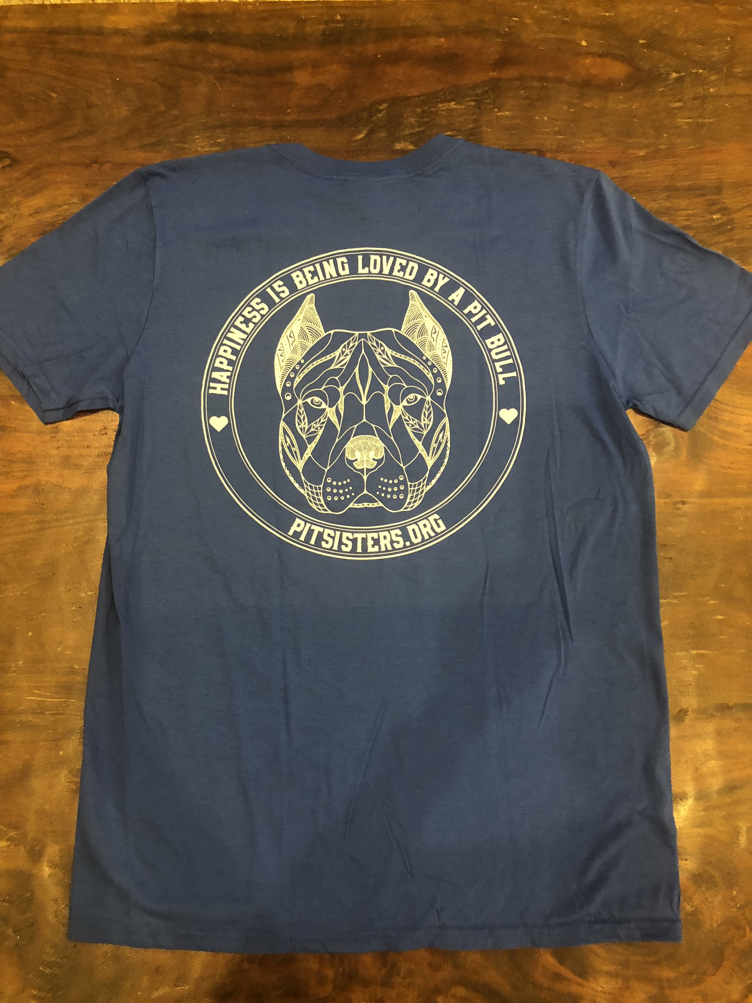 """Blue TShirt """"Happiness is Being Loved By A Pit Bull"""" - Medium 55719"""