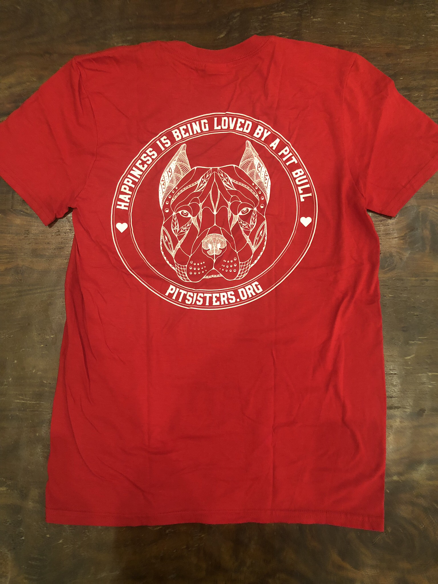 "Red TShirt ""Happiness is Being Loved By A Pit Bull"" - Small  55722"