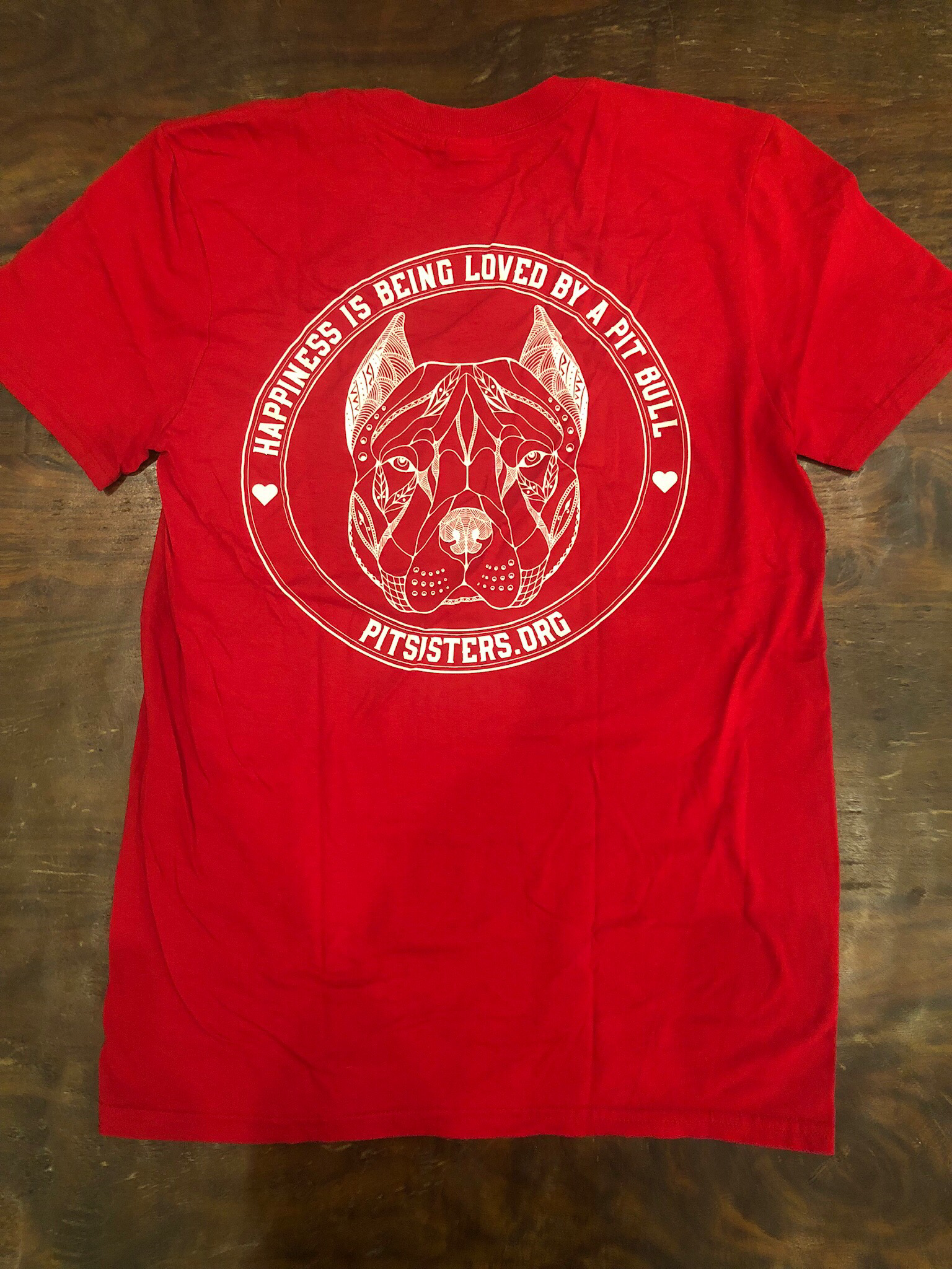 "Red TShirt ""Happiness is Being Loved By A Pit Bull"" - Medium 55723"