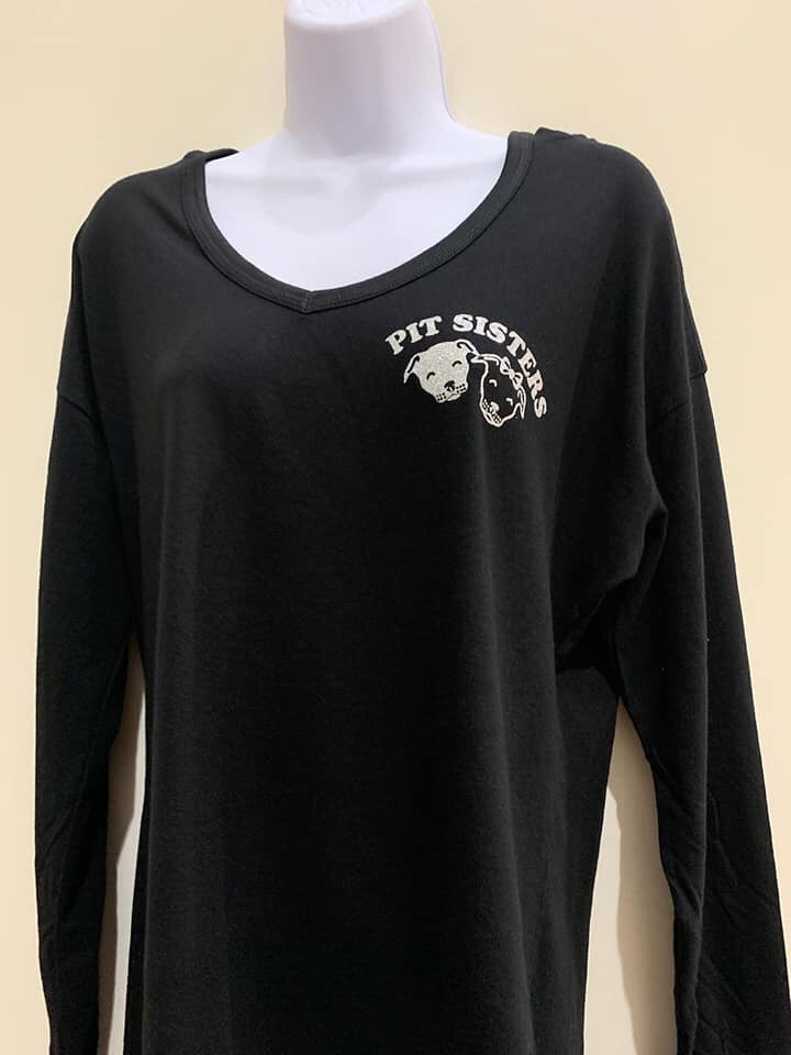 Black glitter/sequined, long sleeved t shirt hoodie, Small 55733