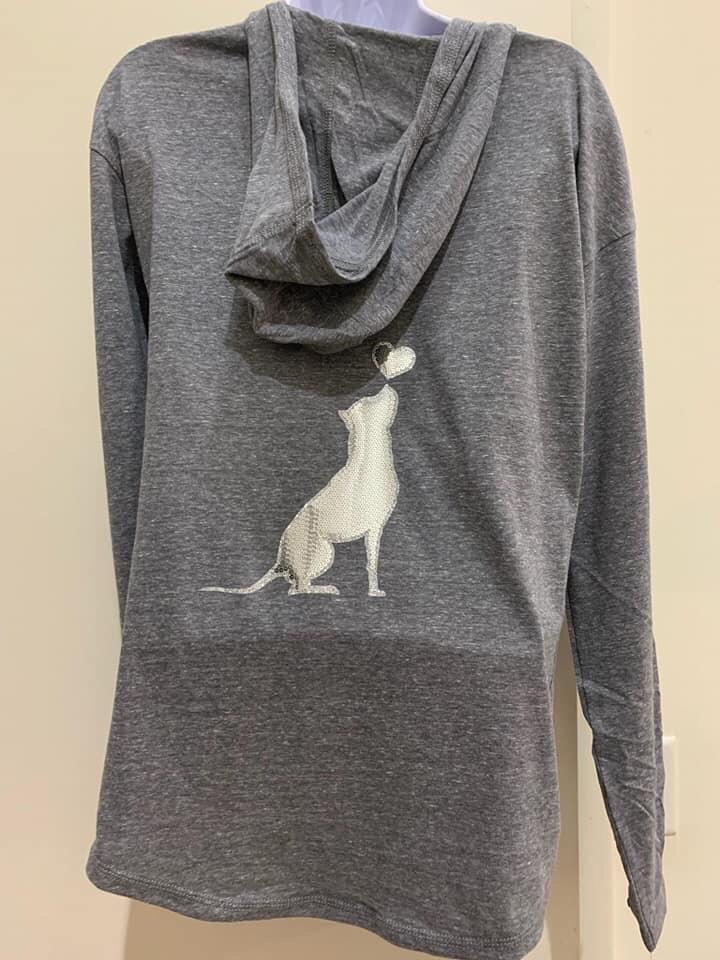 Gray glitter/sequined, long sleeved t shirt hoodie, Medium