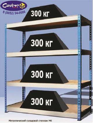 Стеллаж металлический 300 кг/на полку (1591 х 760)