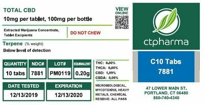 C10 Tabs 7881 (10 mg CBD x 10 Tablets)(CPS)