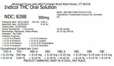 Indicol THC Oral Solution NDC: 8288 (29.23 mg THC x 10.26 mL)(AGL)