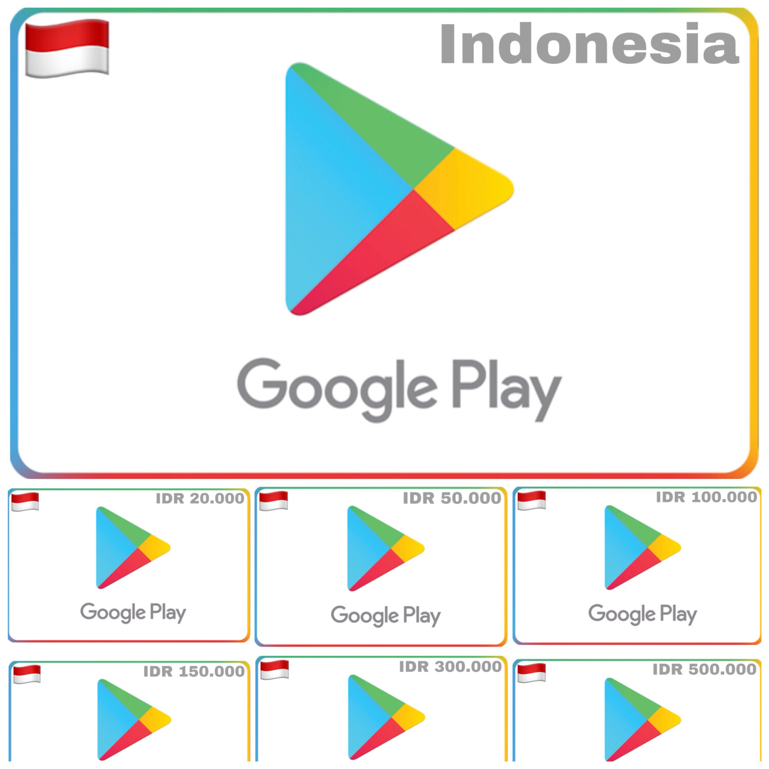 Google Play Gift Card Indonesia 20000 50000 100000 150000 300000 500000
