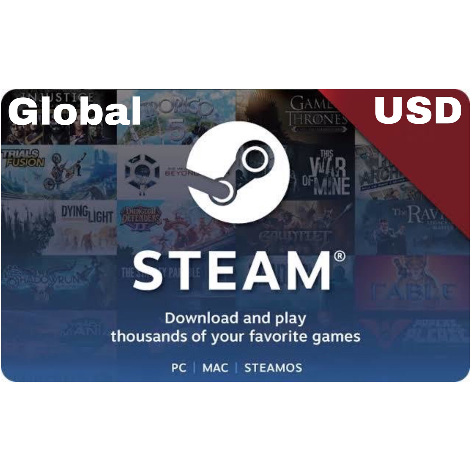 Steam Wallet USD $20 $50 $100 (Global)