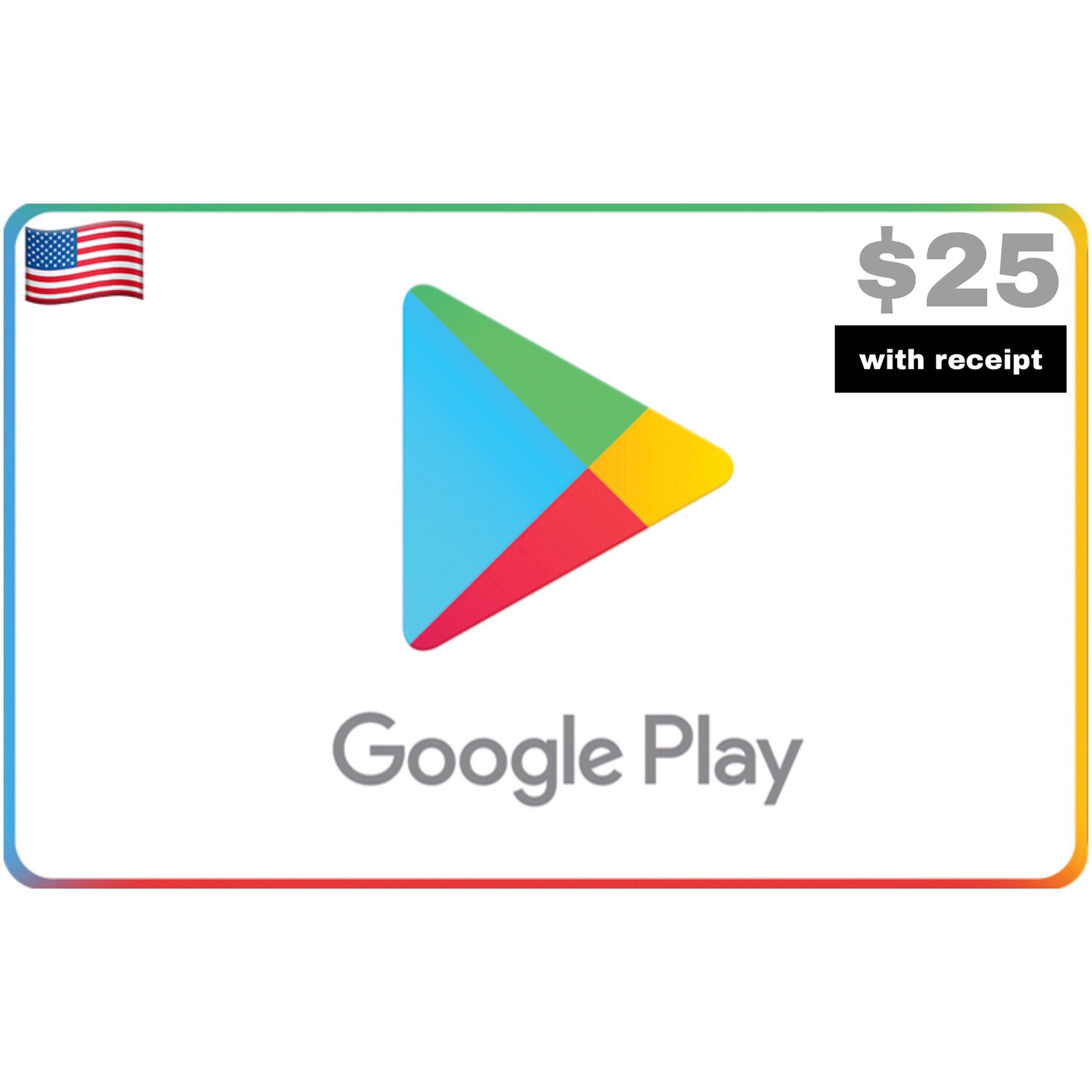 Google Play Gift Card US $25 with receipt