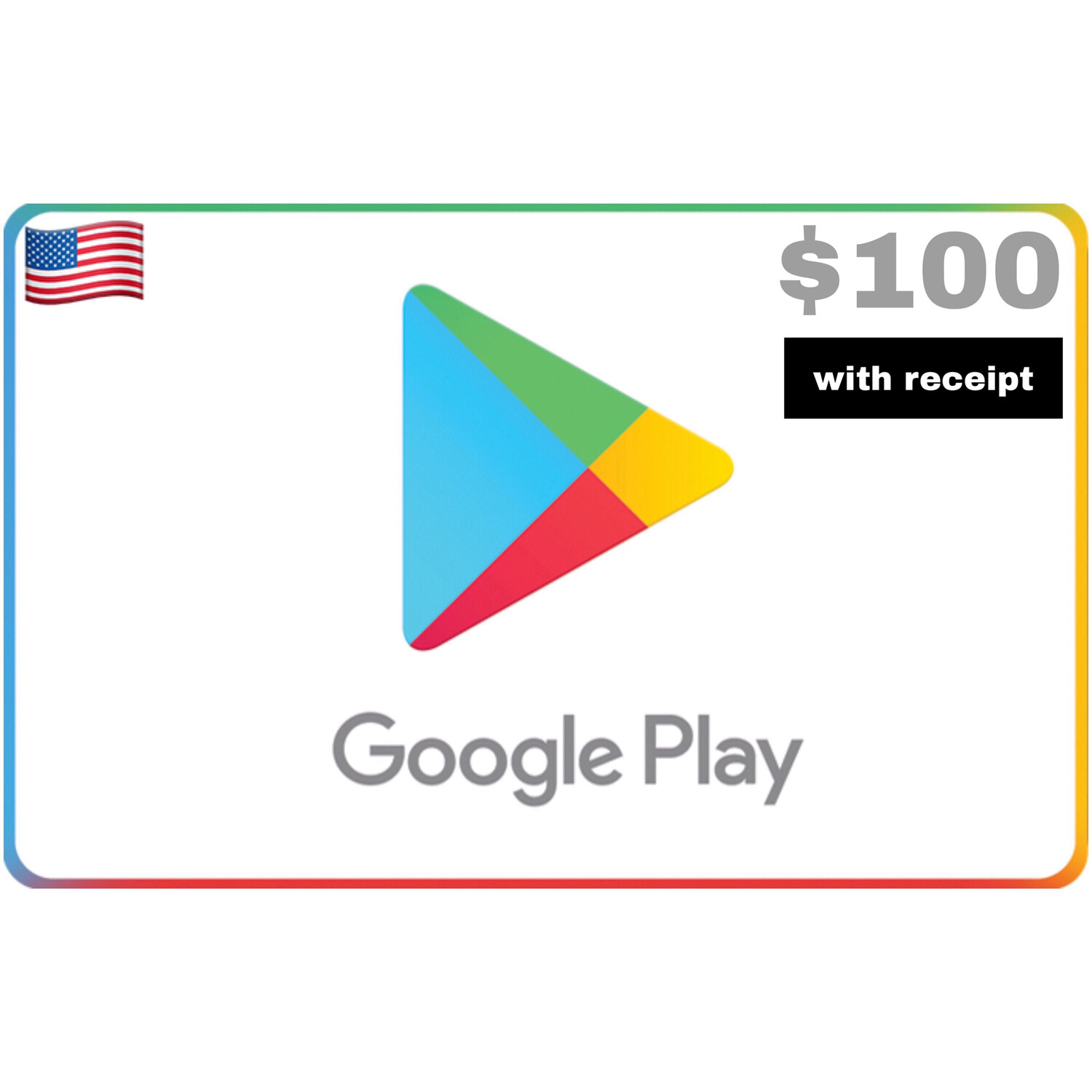 Google Play Gift Card US $100 with receipt