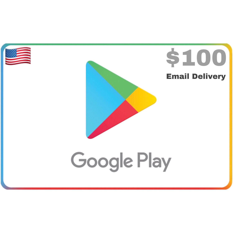 Google Play Gift Code US $100 Printable Gift Card