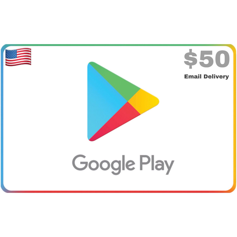 Google Play Gift Code US $50 Printable Gift Card