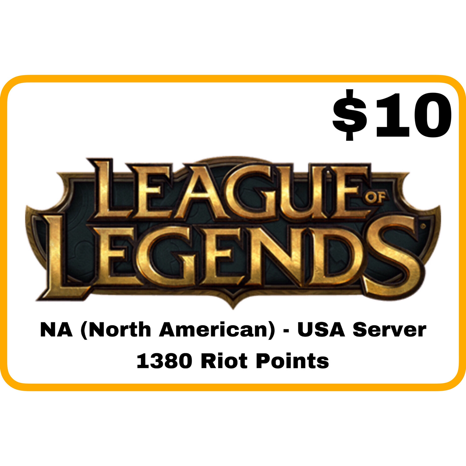 League of Legends $10 Gift Card code - 1380 Riot Points - NA Server (USA)