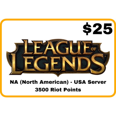 League of Legends $25 Gift Card code - 3500 Riot Points - NA Server (USA)