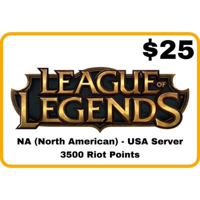League of Legends $25 NA Server (USA) 3500 Riot Points