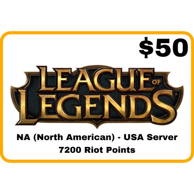 League of Legends $50 Gift Card code - 7200 Riot Points - NA Server (USA)
