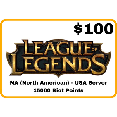 League of Legends $100 Gift Card – 15000 Riot Points - NA Server (USA)