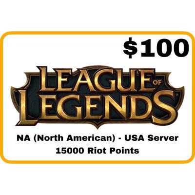 League of Legends $100 NA Server (USA) 15000 Riot Points