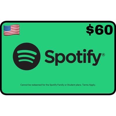 Spotify Gift Card USA $60 (6 Months Premium)