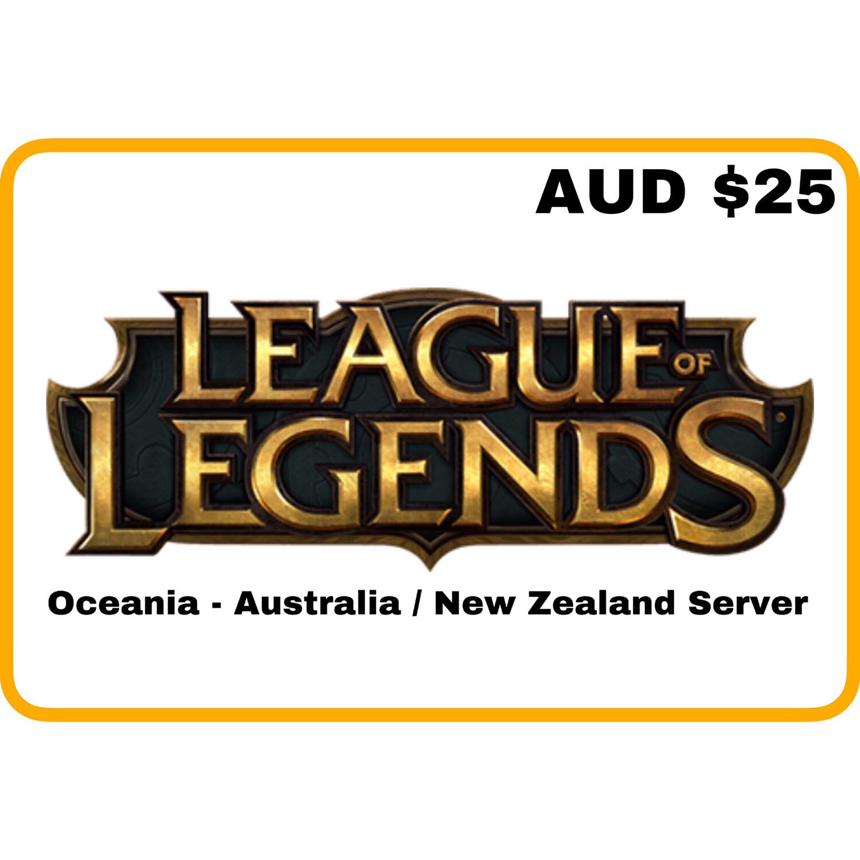 League of Legends AUD $25 Oceania Server (Australia/New Zealand) Riot Points