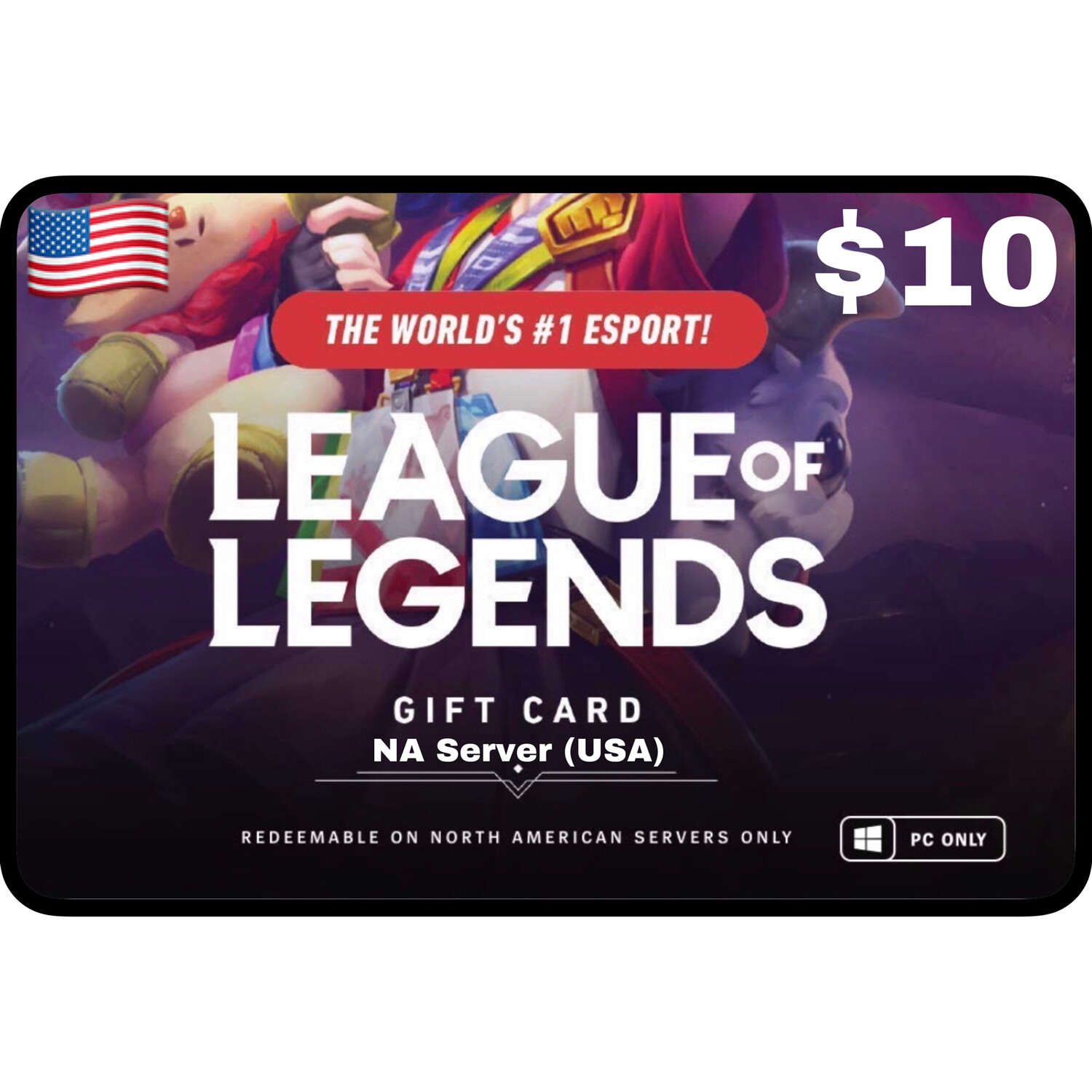 League of Legends $10 NA Server (USA) 1380 Riot Points