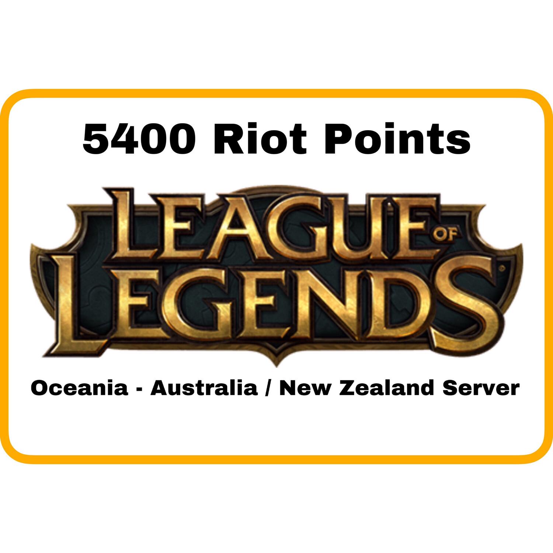 League of Legends Oceania Server (Australia/New Zealand) 5400 Riot Points