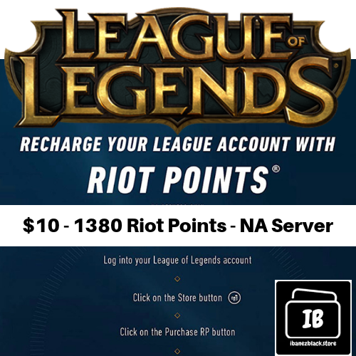 League of Legends $10 Gift Card code - 1380 Riot Points - NA Server