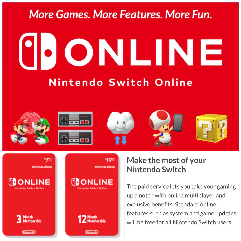 Nintendo Switch Online 3 - 12 Month Individual Membership Card US