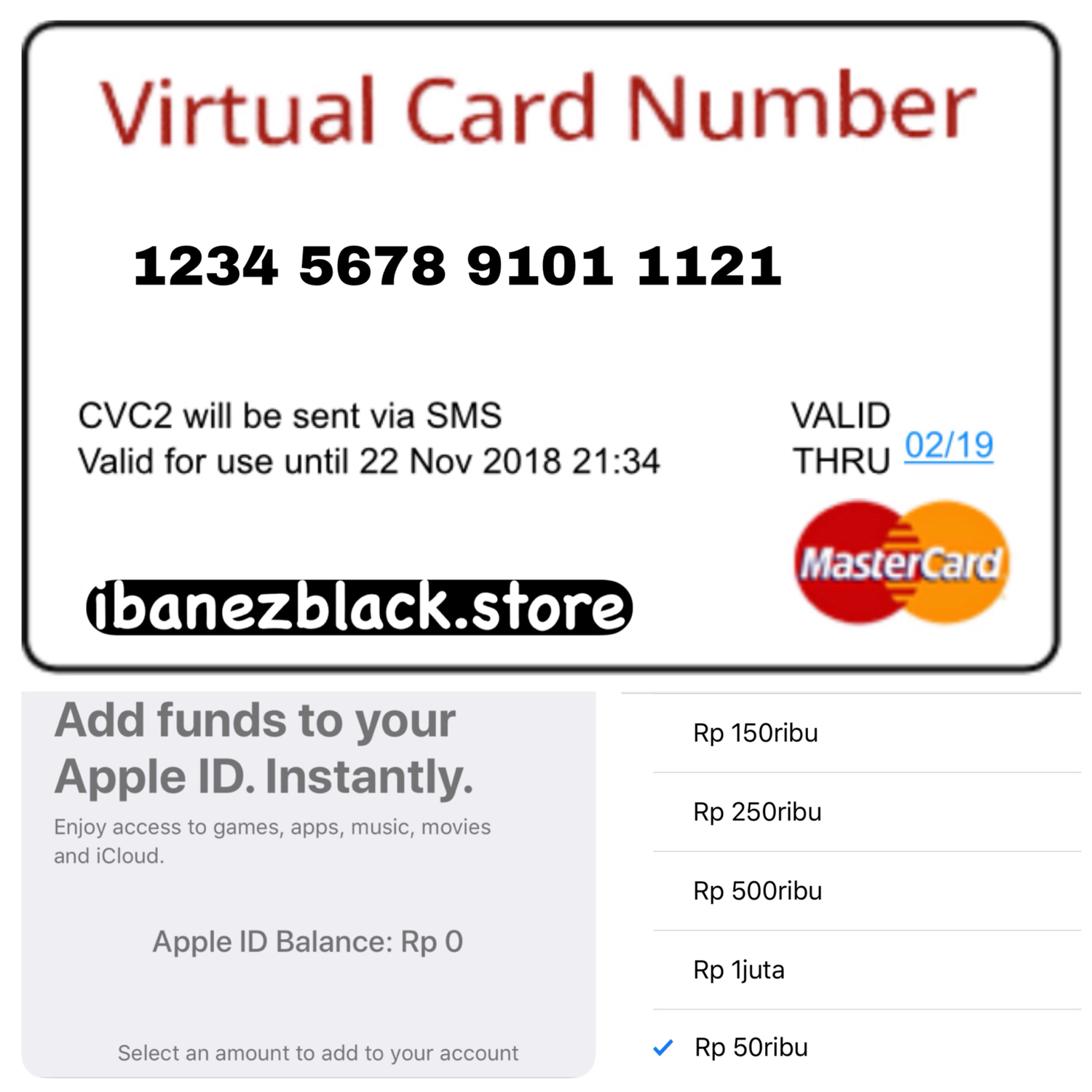 VCC (Virtual Credit Card) Add Funds Apple ID Indonesia 50.000 - 1.000.000
