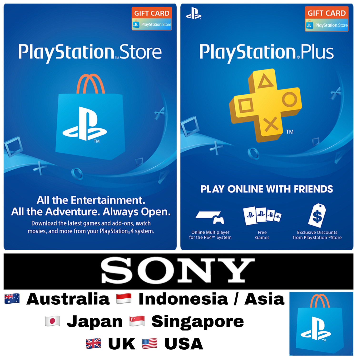 Playstation Store Gift Card / PSN Card, Playstation Plus / PSN Plus
