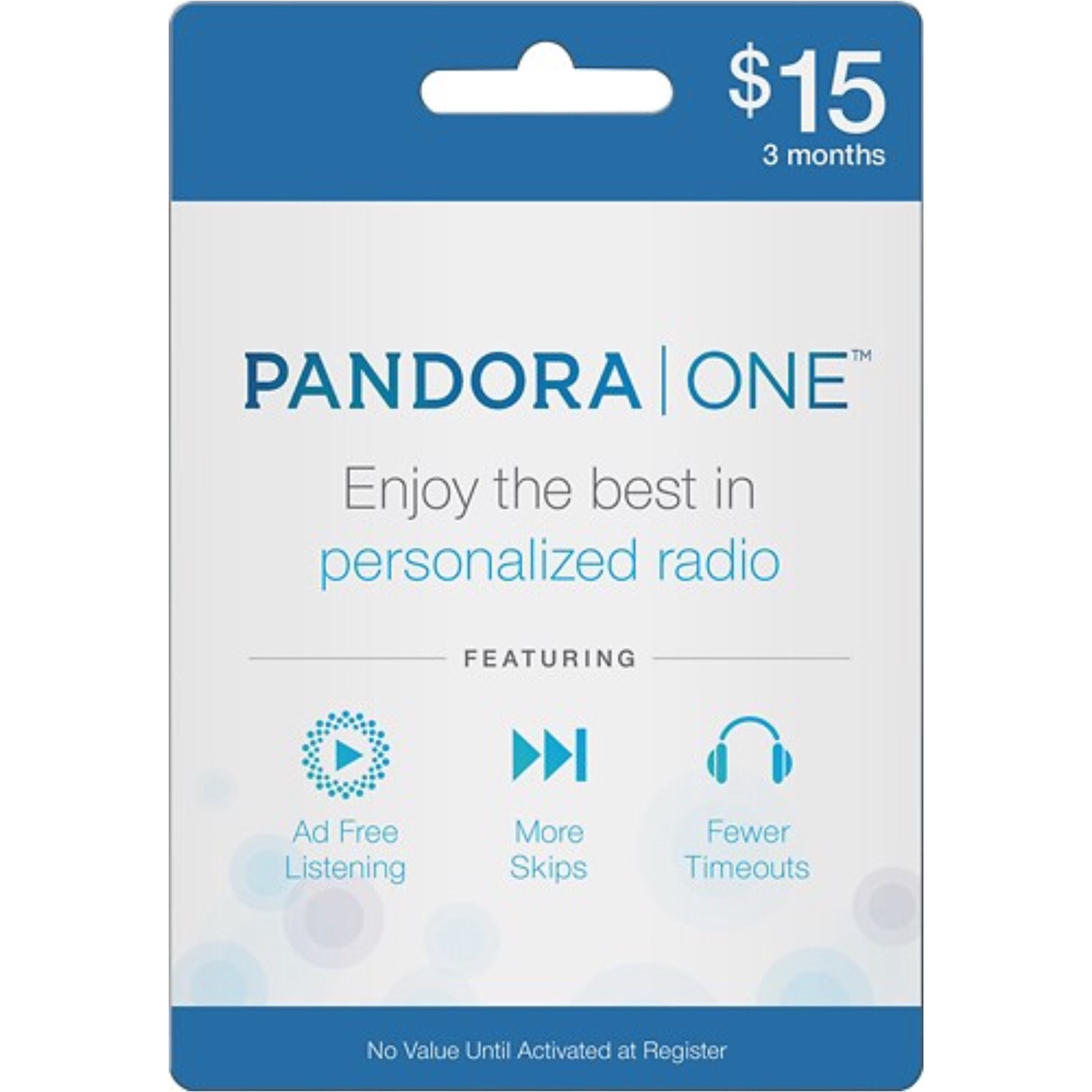 Pandora One Gift Card US $15 / 3 Months Subscription