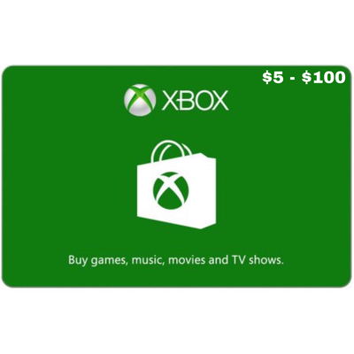 Xbox Gift Card US $5 - $100, Xbox Live 1,3,6 Months