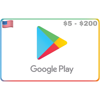 Google Play Gift Card US $5 $10 $15 $25 $50 $100 $200