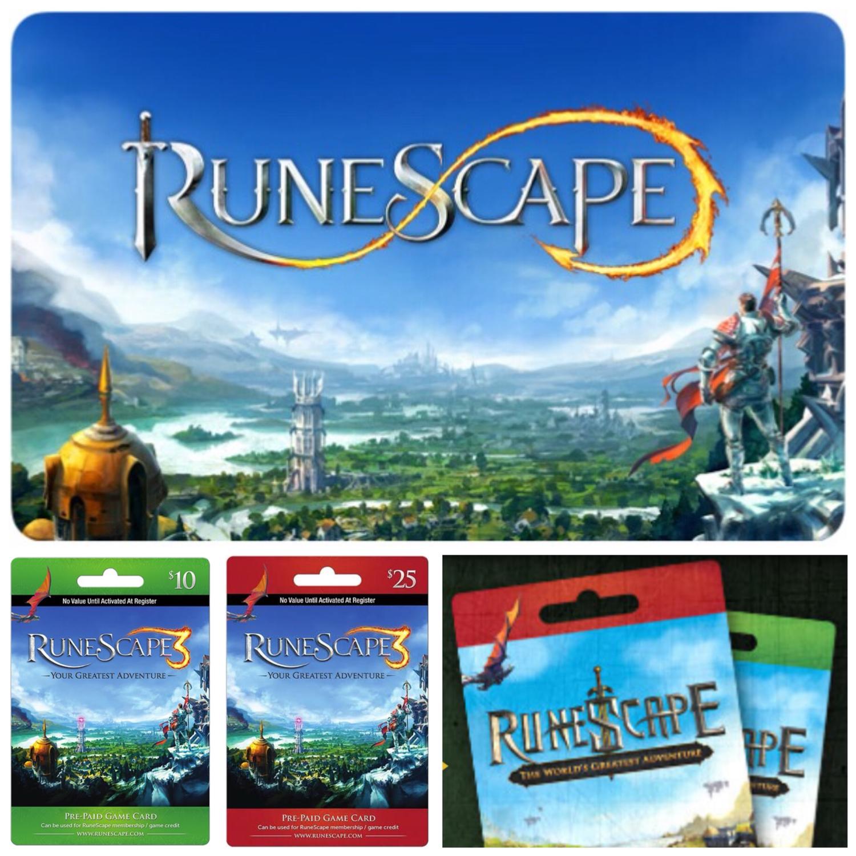 Runescape $10 $25 Prepaid Cards