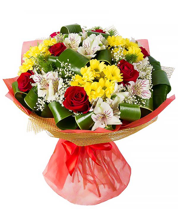 Бюджетные букеты из хризантем и альстромерий, магазин цветов