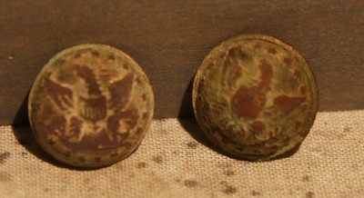 JUST ADDED ON 3/13 - THE SIEGE OF PETERSBURG - Two Union Staff Officer Cuff Button Faces