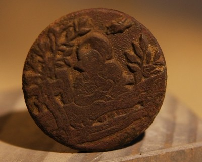 JUST ADDED ON 3/13 - THE SIEGE OF PETERSBURG - Very Unusual Coat Sized Button - Tropical Trees? - Confederate Use?