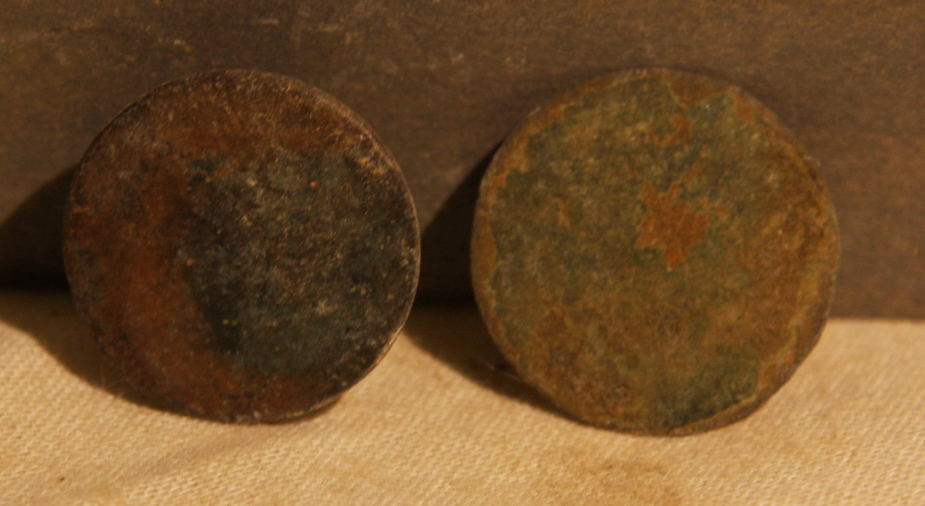 JUST ADDED ON 3/20 - THE BATTLE OF ANTIETAM / MILLER'S CORNFIELD - Two Coin or Flat Buttons - Found between 1975 and 1979 A-MC50