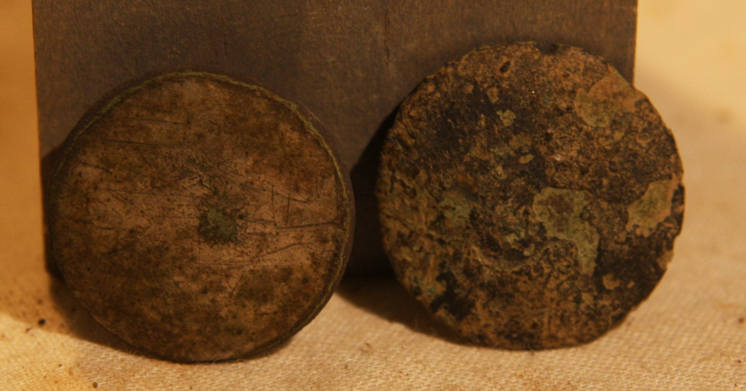 JUST ADDED ON 5/2 - 1861-1862 ZOUAVE WINTER CAMP NEAR POOLESVILLE, MD - Two Coin or Flat Buttons