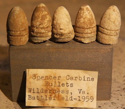JUST ADDED ON 5/2 - THE BATTLE OF THE WILDERNESS - 5 Spencer Bullets with Original Collection Label - Found in 1959