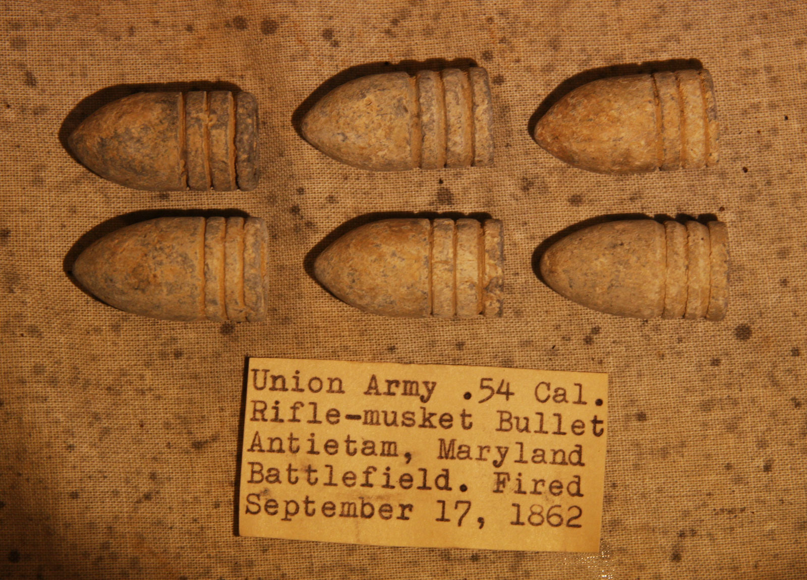 JUST ADDED ON 5/2 - THE BATTLE OF ANTIETAM - Six .58 Caliber Bullets including Four Rarer Machine Grooved with Original Collection Label RG-ANT107