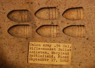 JUST ADDED ON 5/2 - THE BATTLE OF ANTIETAM - Six .58 Caliber Bullets including Four Rarer Machine Grooved with Original Collection Label