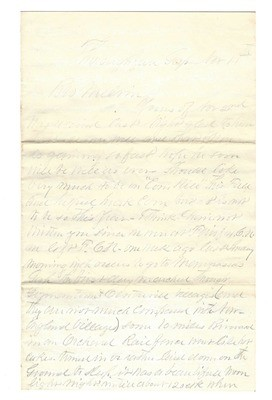 JUST ADDED ON 5/2 - FOUR PAGE CIVIL WAR LETTER WRITTEN BY NORMAN RAY / 33RD MASSACHUSETTS - NOVEMBER 11, 1862 - EXCELLENT CONTENT! - DESCRIPTION OF THE BULL RUN BATTLEFIELD