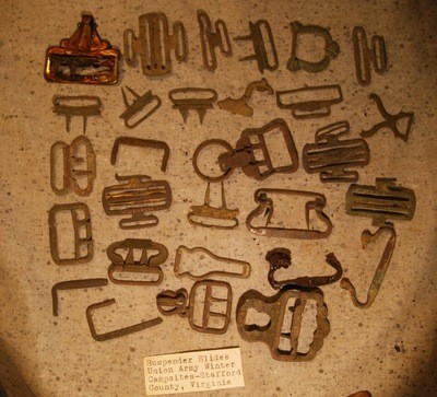 JUST ADDED ON 5/9 - UNION 1862/1863 WINTER CAMPS / STAFFORD, VA. - Large Group of Suspender Buckles & Parts - Some Marked - with Original Label
