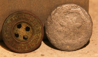 JUST ADDED ON 5/22 - THE SIEGE OF PETERSBURG - Maker Marked Trouser Button (W.E. Butcher of Petersburg (rare?)) and Decorated Flat Button with Star