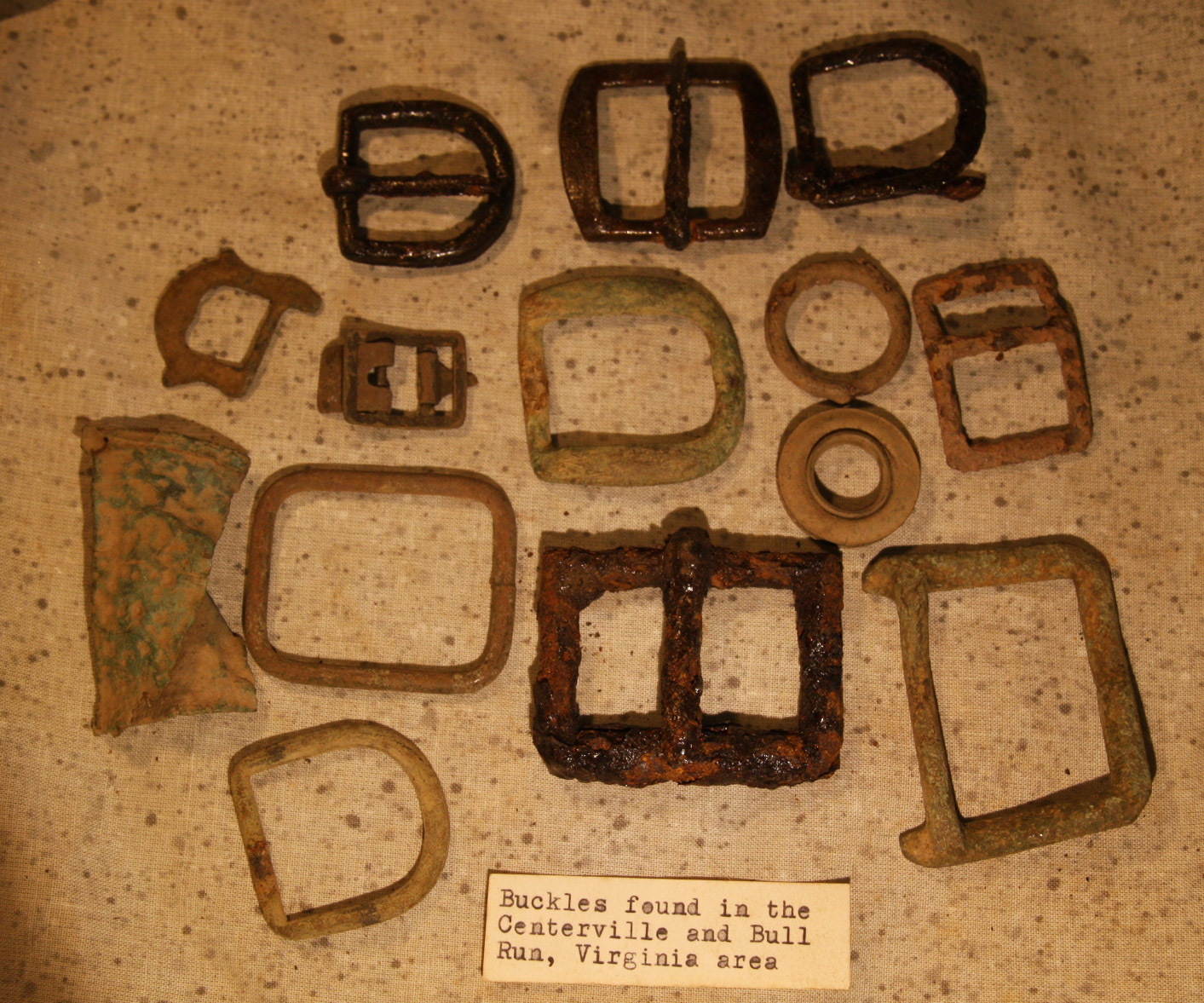JUST ADDED ON 5/22 - CENTREVILLE, VIRGINIA / BULL RUN AREA - 14 Artifacts - Mostly Brass & Iron Buckles -  with Original Typed Label RG-GEN03