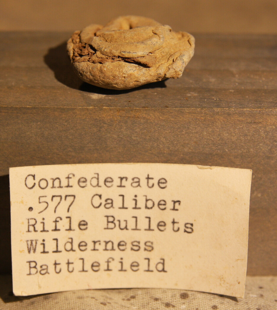 JUST ADDED ON 6/5 - THE BATTLE OF THE WILDERNESS - Very Unusual Mushroomed Fired Gardner Bullet - Wood Attached - Found in 1959 - with Original Collector's Label