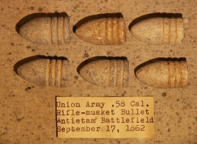 JUST ADDED ON 6/5 - THE BATTLE OF ANTIETAM - Six .58 Caliber Bullets including with Original Collection Label