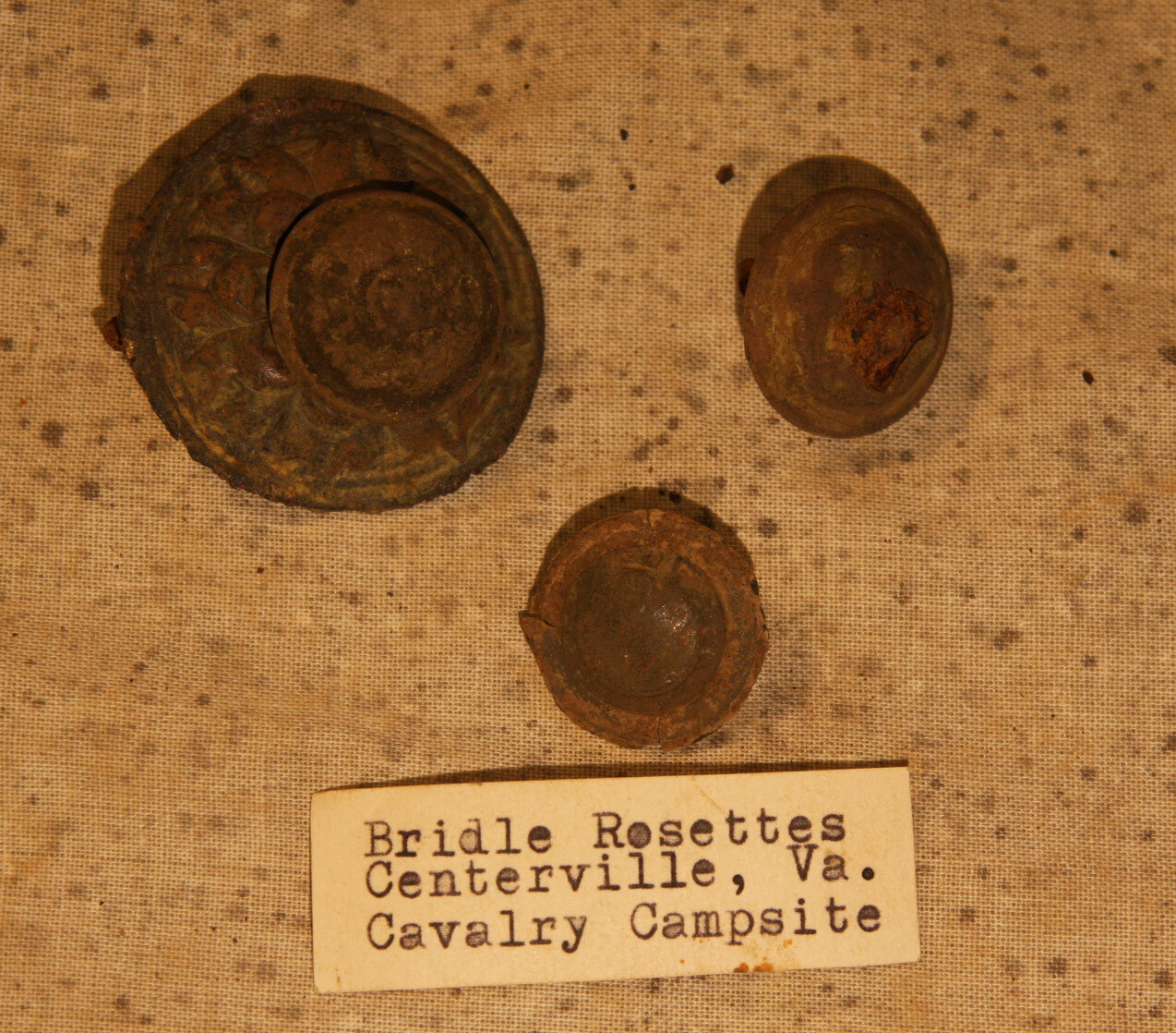 JUST ADDED ON 6/19 - CENTREVILLE, VIRGINIA / BULL RUN AREA - 3 Cavalry Artifacts - Rosette? - with Original Collection Label