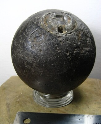 JUST ADDED ON 9/12 - THE BATTLE OF FREDERICKSBURG - 12 Pounder Spherical Artillery Shell with Intact Bormann Fuse