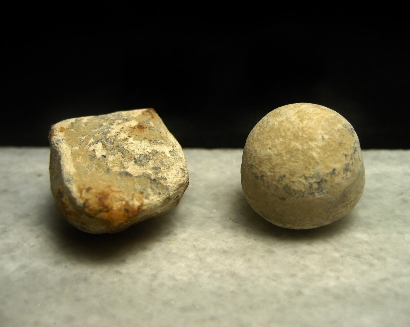 JUST ADDED ON 9/19 - THE BATTLE OF MALVERN HILL / AREA OF MAGRUDER'S ADVANCE - Irregular Case Shot and .69 Caliber Musket Ball from Buck & Ball Round  - Found April 27, 1963